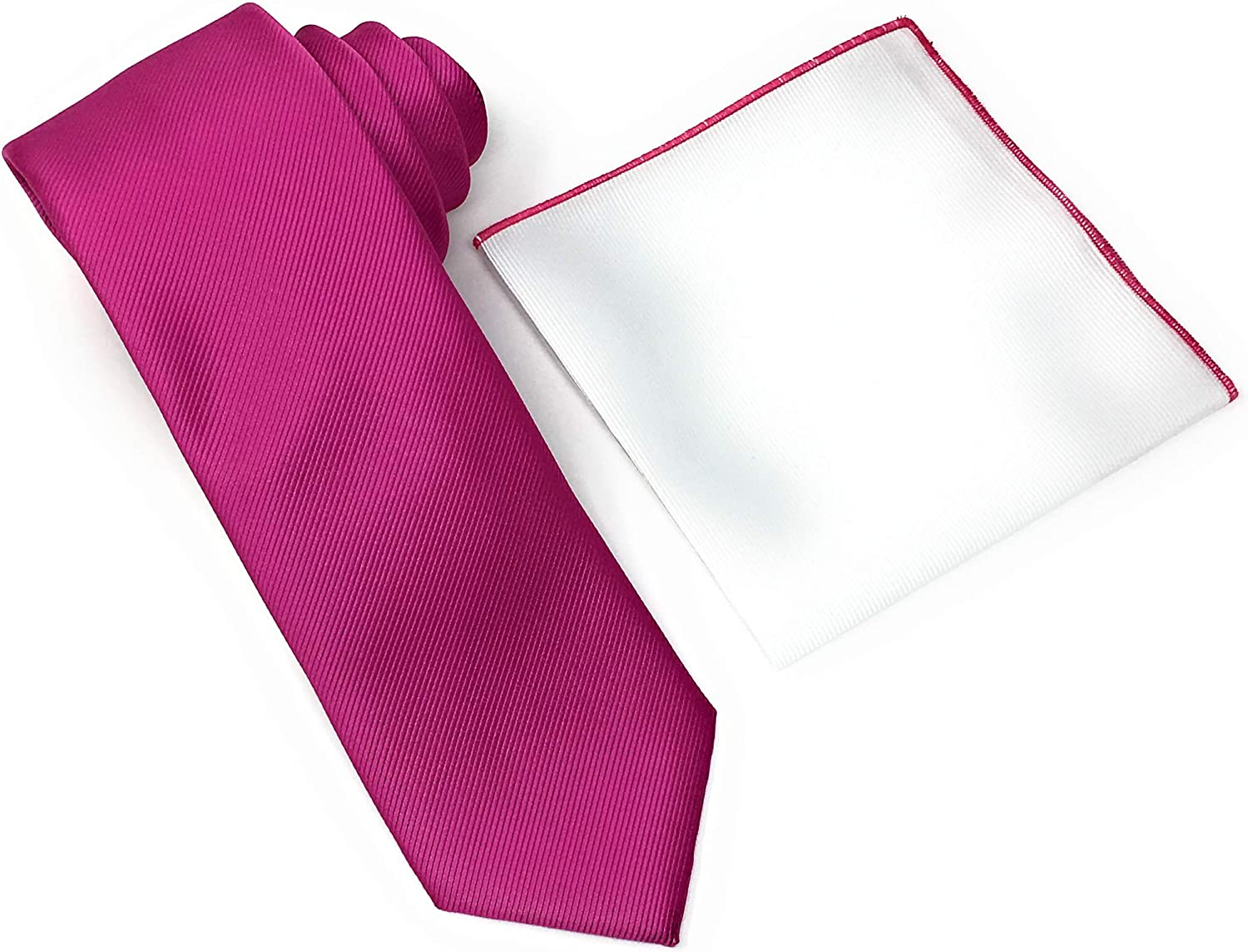 Solid Red Violet Weave 100% Silk Necktie With A White Pocket Square With Red Violet Trim