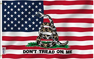 Anley Fly Breeze 3x5 Foot Gadsden American Flag - Vivid Color and UV Fade Resistant - Double Stitched - USA Don't Tread on Me Tea Party Patriotic Flags Polyester with Brass Grommets 3 X 5 Ft