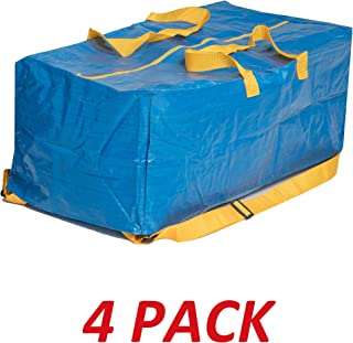 Klickpick Home Heavy Duty Reusable Extra Large Storage Bags -Pack of 4, Laundry Bag Shopping Moving Totes Bags Underbed Storage Bins Zipper -Backpack Handles,Compatible with IKEA FRAKTA CART- Blue