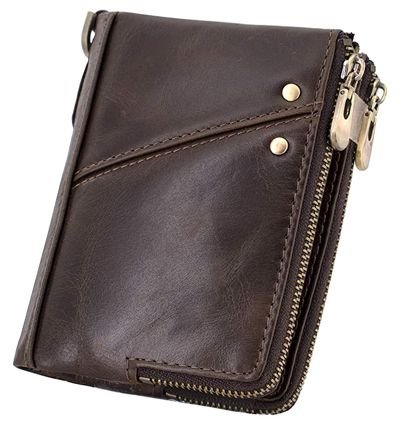 トレイルレビュー逮捕メンズ財布本革二つ折り 財布 大容量 カード13枚収納可 隠しバッグカードダブルジップコインケース サイフ