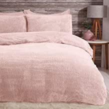 Sleepdown Teddy Fleece Duvet Cover Quilt Bedding Set with Pillow Cases Thermal Warm Cosy Super Soft - Single - Blush Pink