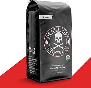 DEATH WISH COFFEE Dark Roast Coffee Grounds [16 oz.] The World's Strongest Coffee,..