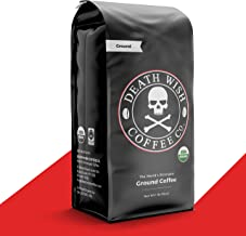DEATH WISH COFFEE Dark Roast Coffee Grounds [16 oz.] The World's Strongest, USDA Certified Organic, Fair Trade, Arabica, R...