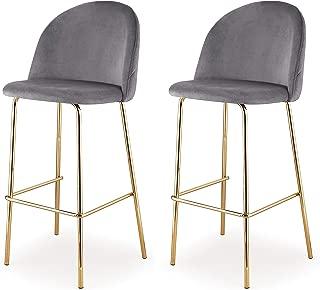 MEELANO Dining Chair, Bar Height, Gold/Grey