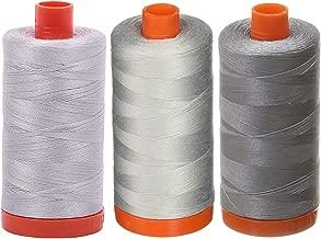 3-PACK - Aurifil 50WT - Aluminum + Dove + Grey, Solid - Mako Cotton Thread - 1422Yds EACH