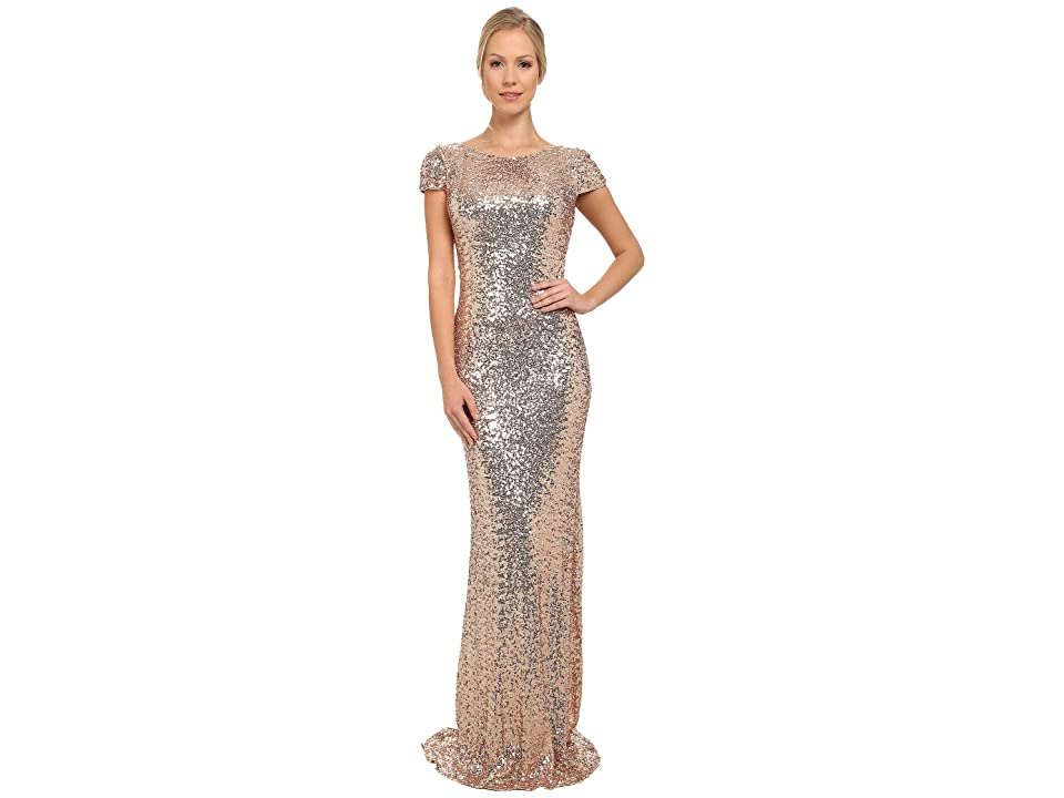 Badgley Mischka Stretch Sequin Cowl Back Gown (Blush) Women