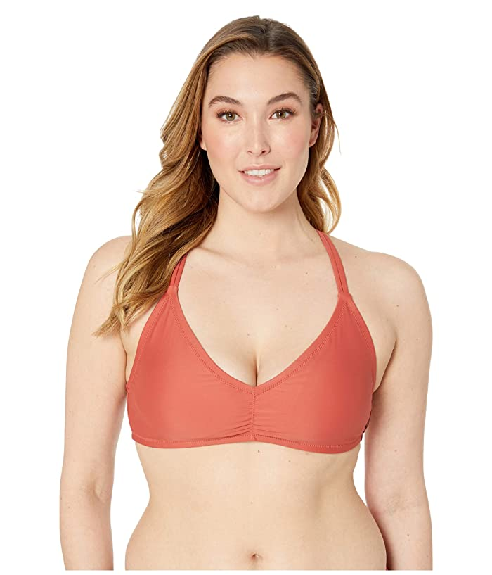 Volcom Plus Size Simply Solid V-Neck (Burnt Red) Women