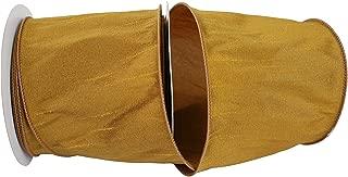 Reliant Ribbon 92975W-974-10F Dupioni Supreme Wired Edge Ribbon, 4 Inch X 10 Yards, Antique Gold