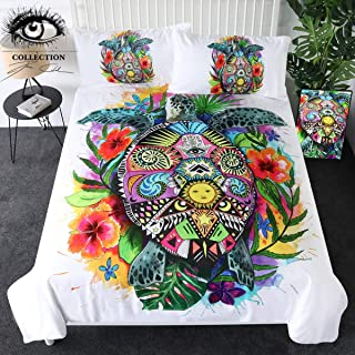 Sleepwish Turtle Life by Pixie Cold Art Bedding Set Turtle Floral Duvet Cover 3 Pcs Colorful Bohemian Bedding Tortoise Home Decor (Queen)