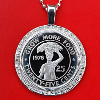 1978 Liberia 25 Cents Gem BU Proof Coin Solid 925 Sterling Silver Necklace NEW - Woman with Basket of Leaves