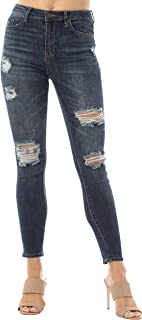 Almost Famous Women's Juniors Destructed High-Rise Skinny Jeans