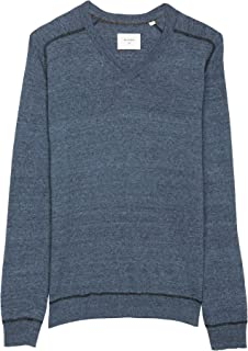 Men's Long Sleeve Contrast Stitch Pullover V-Neck Sweater