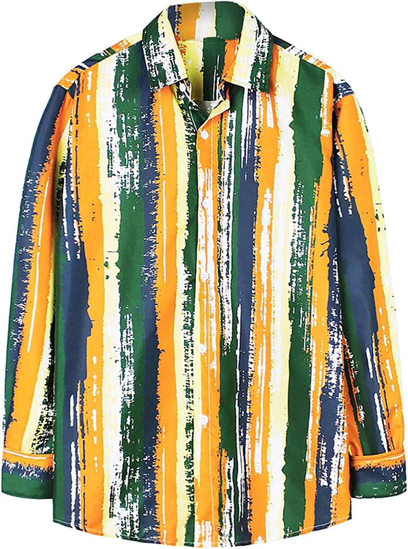 Men's Casual Printing Long Sleeve Shirt Regular Fit Button Down Tops Standard-Fit Hawaiian Shirts
