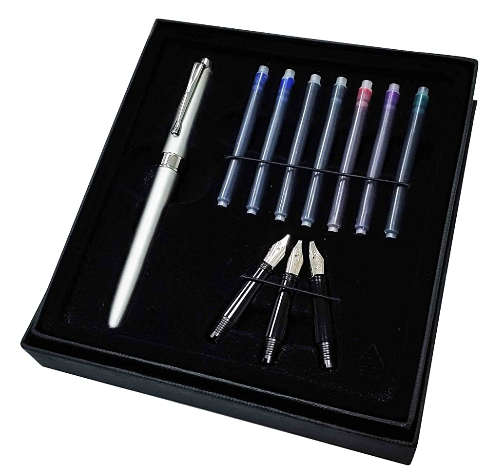 Kentaur Calligraphy Fountain Pen Set Bundle with 3 Nibs and 7 Ink cartridges