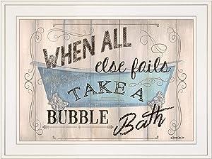 Trendy Decor4U Bathroom Humor by Debbie Dewitt Printed Wall Art, 19 Inch x 15 Inch, White Frame