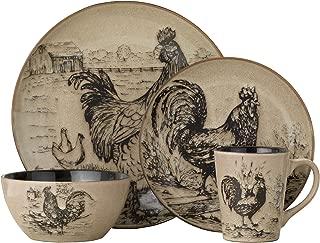 Pfaltzgraff Homespun Rooster 16-Piece Dinnerware Set, Service for 4