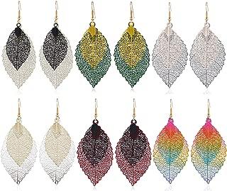 6 Pairs Metal Leaf Dangle Earrings Colorful Pendant Drop Hook Statement Earrings Set for Women Teen Girls