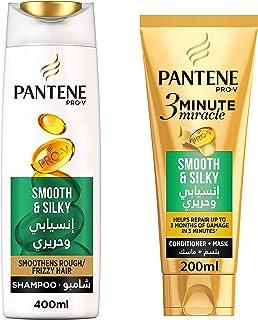 Pantene Smooth & Silky 3MM Shampoo, 2 x 600 ml
