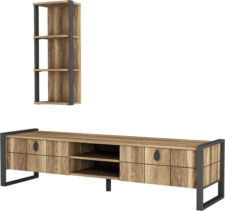 Alphamoebel Lost 4927 Wohnwand Tv Board Lowboard Regal hngend Sideboard Metallfüe Wohnzimmer Walnuss, Braun, 184,5 x 34 x 45 cm, Wandregal Metallrahmen