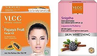 VLCC Papaya Fruit Facial Kit, 60g And VLCC Snighdha Skin Whitening Day Cream, SPF 25, 50g