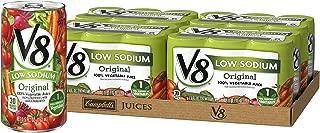V8 Low Sodium Original 100% Vegetable Juice, 5.5 oz. can (4 packs of 6, total of 24)