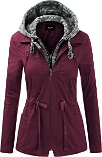 Women's Zip Up Safari Military Anorak Jacket with Hood...