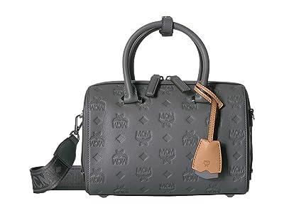 MCM Essential Monogrammed Leather Boston 23 (Charcoal) Satchel Handbags