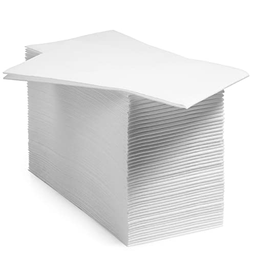 BloominGoods Disposable Bathroom Napkins | Single-Use Linen-Feel Guest Towels | Cloth-Like Hand Tissue Paper, White (Pack of 200)