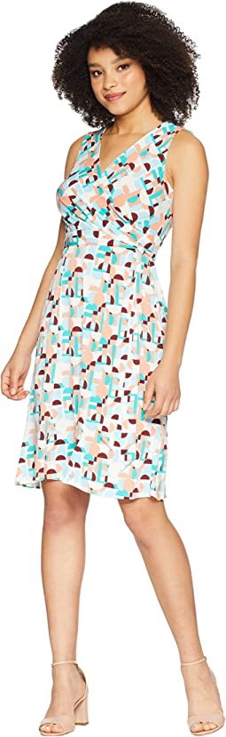 Sleeveless Printed Jersey Faux Wrap Dress