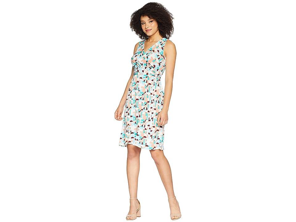 Donna Morgan Sleeveless Printed Jersey Faux Wrap Dress (Aqua/Burgundy Multi) Women