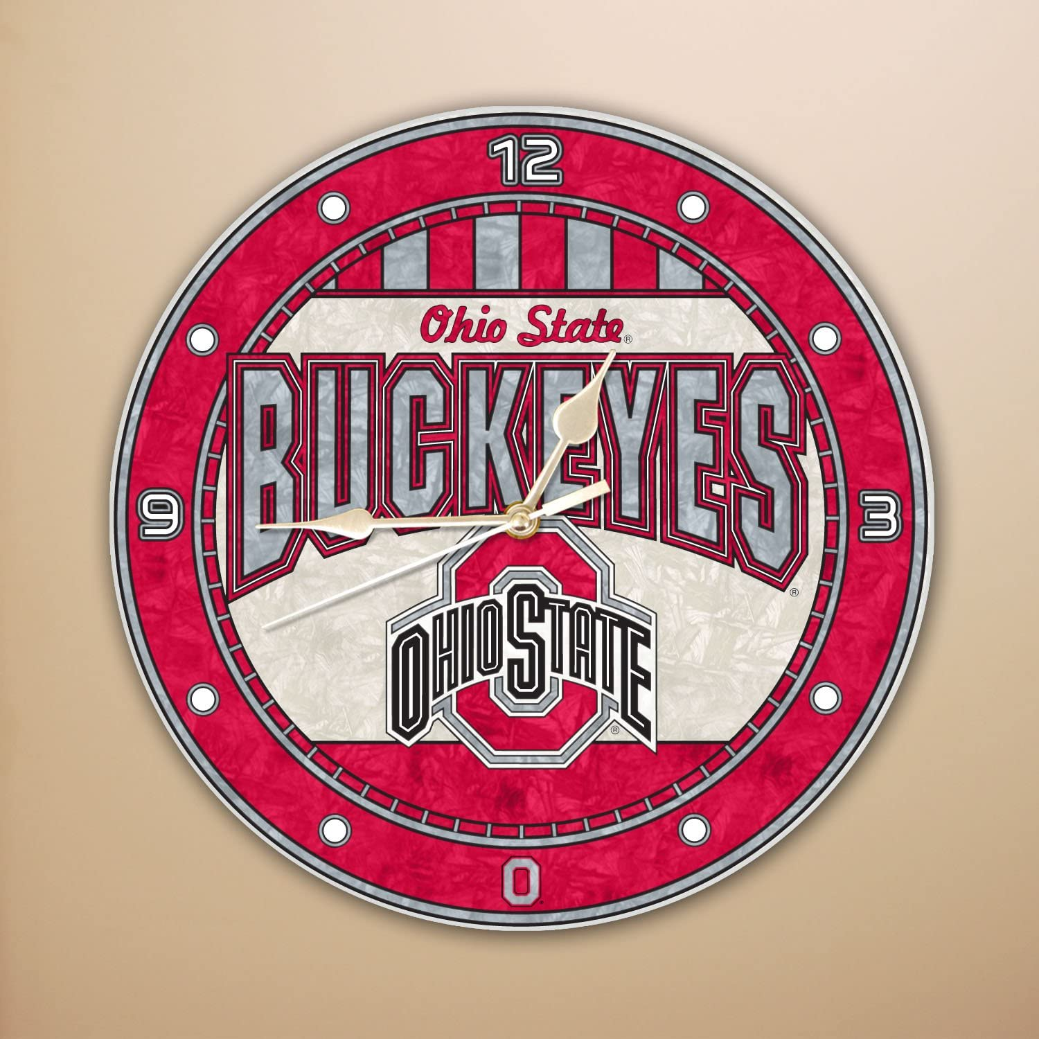 Memory Company Ohio State Excellent Buckeyes Art 12in Clock Glass Japan Maker New