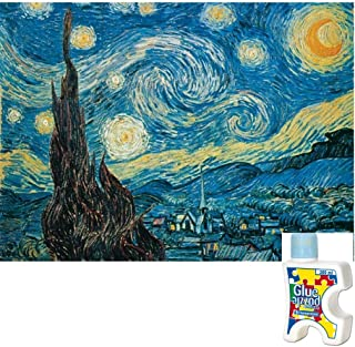 Fine Art Vincent Van Gogh Puzzle Bundle with 500 Piece Starry Night Puzzle and a Bottle of Jigsaw Puzzle Glue
