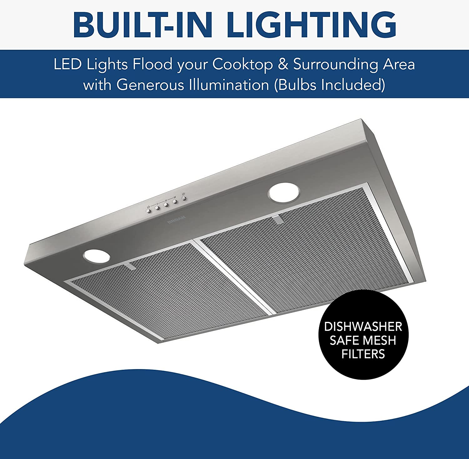 BROAN NuTone BCSQ130SS Three-Speed Glacier Under-Cabinet Range Hood with LED Lights ADA Capable, 1.5 Sones, 375 Max Blower CFM, 30, Stainless Steel