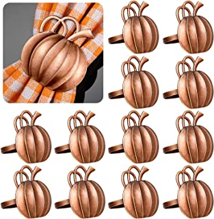 hatatit 8 Pieces Fall Pumpkin Napkin Rings Thanksgiving Vintage Napkin Ring Holders Halloween Pumpkin Dinner Tables Rings for Dinner Parties Weddings Family Gatherings Table Decoration