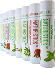 All-Natural Lip Balm Gift Set by Naturistick. 8 Best Moisturizing Beeswax Chapsticks for Healing Dry, Chapped Lips. Made with Aloe Vera, Vitamin E, Coconut Oil for Men, Women and Children. Made in USA