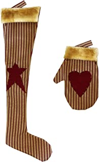 CVHOMEDECO. Rustic Antique Christmas Tree Hanging Stocking with Glove, Primitives Star, Heart Design Hanging Decoration Gifts, 2 Assorted