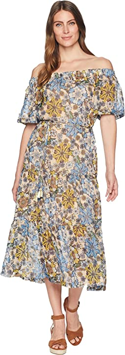 Off-the-Shoulder Floral Print Chiffon Maxi with Tie Belt