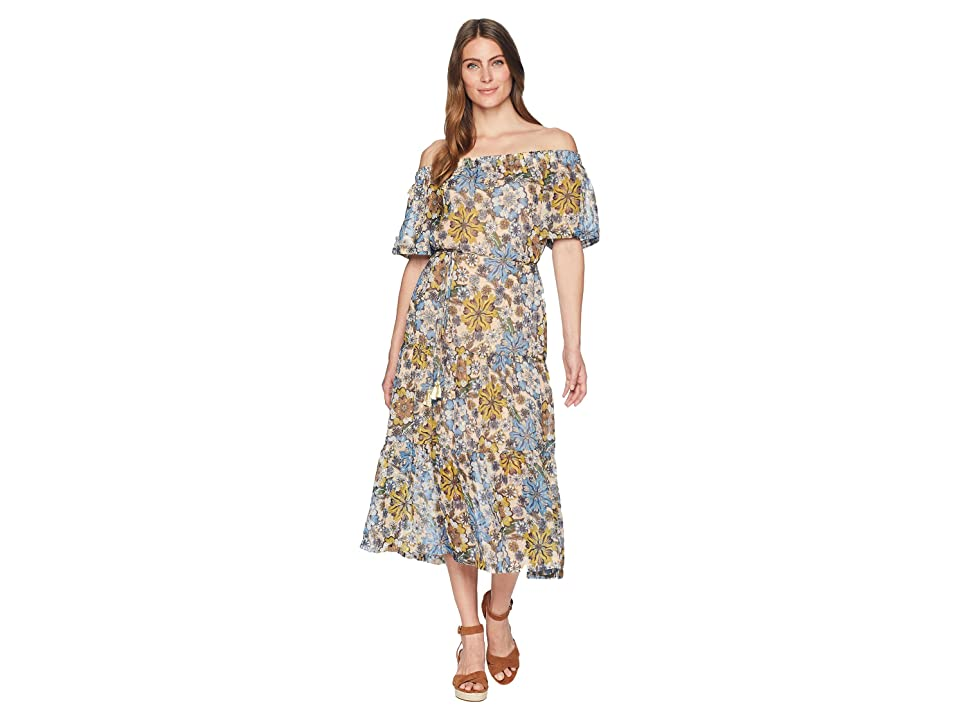 Taylor Off-the-Shoulder Floral Print Chiffon Maxi with Tie Belt (Blue/Saga) Women