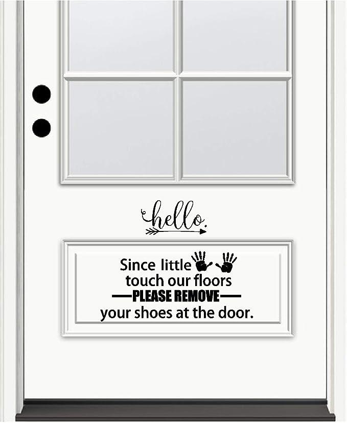 front door decor door decals porch decals Because little hands touch our floor Please leave your shoes at the door vinyl decal sticker