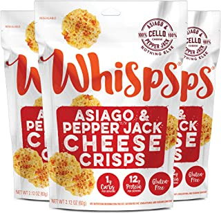 Whisps Asiago & Pepper Jack Cheese Crisps | Keto Snack, No Gluten, No Sugar, Low Car, High Protein | 2.12 ounce (3 Pack)