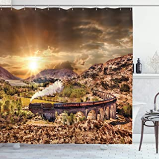 Ambesonne Wizard Shower Curtain, Wizard School Express Famous Train Landscape Glenfinnan Railway Viaduct Scotland Sunset, Cloth Fabric Bathroom Decor Set with Hooks, 70
