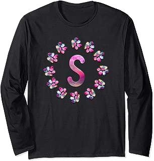 Colorful Letter S Dog Cat Paw Print Monogram Vet Tech Week  Long Sleeve T-Shirt