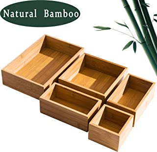 5 Piece Bamboo Drawer Organizer Set, Luxury Wooden Desk Storage Box Kit, Expandable and Multi-use Junk Drawer Organizer for Office, Kitchen, Bedroom, Children Room, Craft, Sewing