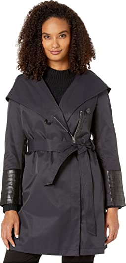 Oversized Hooded Shawl Collar Woven Lightweight Raincoat with Faux Leather Detail