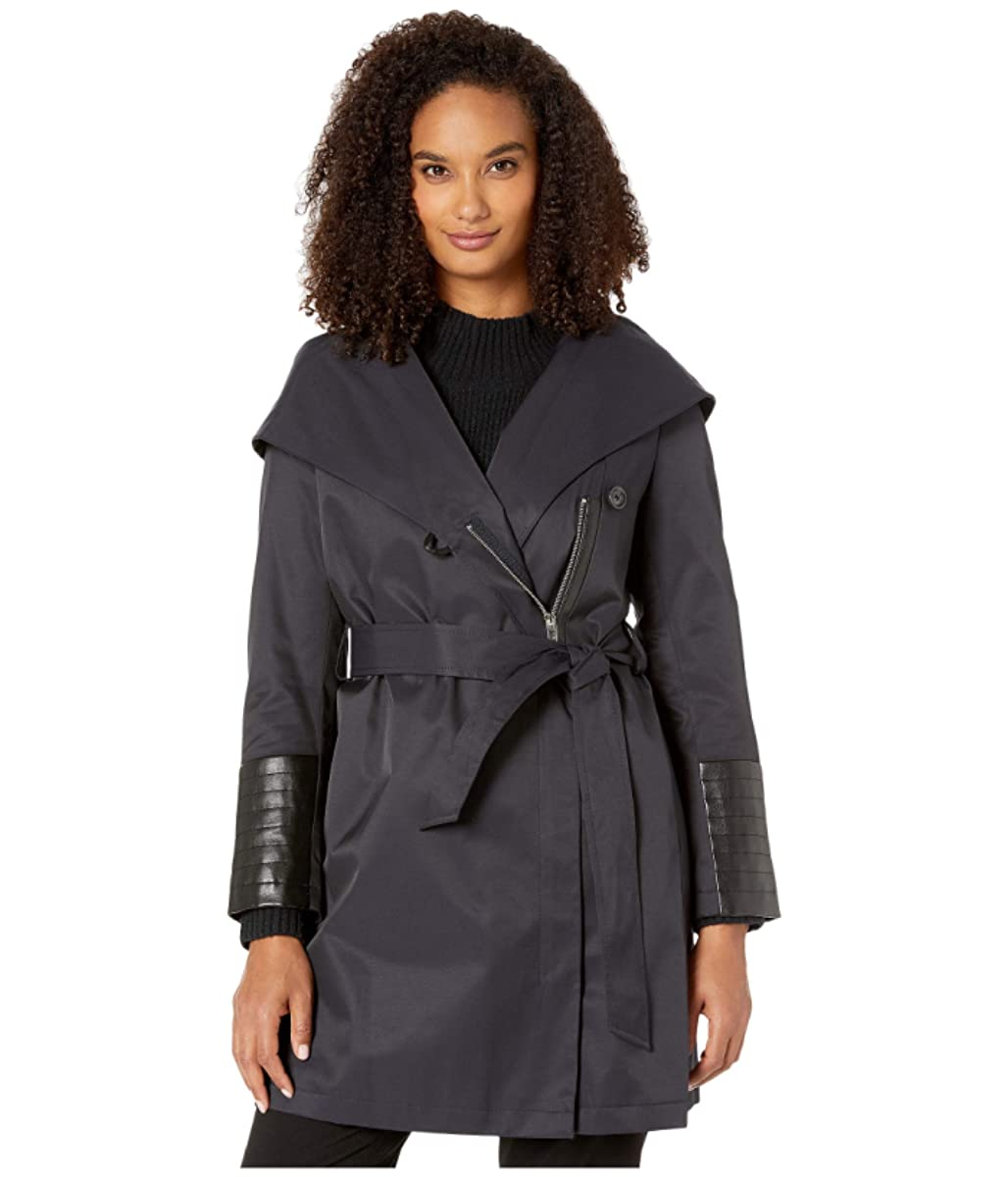 Via Spiga Oversized Hooded Shawl Collar Woven Lightweight Raincoat with Faux Leather Detail (92092669)
