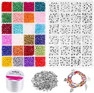 Beads for Bracelets, Selizo Beads for Jewelry Making with 3000 Pcs Pony Seed Beads 4mm, 1200 Pcs Letter Beads and 100 Pcs ...
