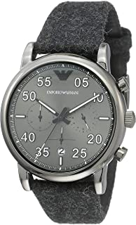 Emporio Armani Men's Luigi Stainless Steel Quartz Watch with Cloth Strap, Grey, 22 (Model: AR11154)