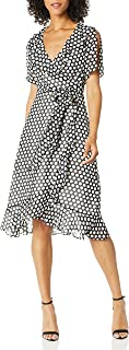 Donna Morgan womens 3/4 Sleeve Wrap Dress Business Casual Dress