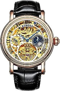 Reloj dorado automático de acero inoxidable mecánico Steampunk Skeleton para hombre, correa de piel de puntero azul