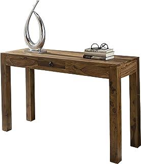 Wohnling mesa consola de madera maciza Sheesham consola con 1cajón escritorio 120x 40cm para ca...